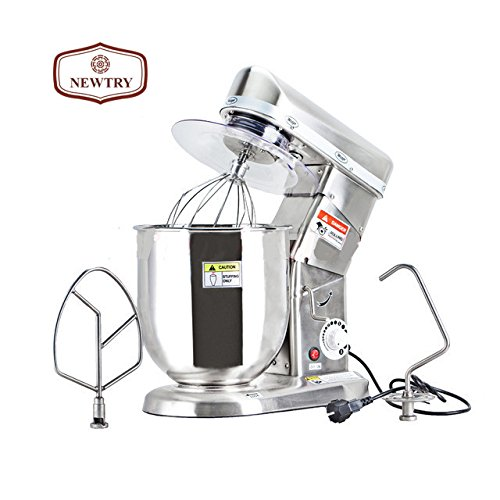 NEWTRY Multi-function 5,7, 10 Liters Electric Stand Food Mixer Food Blender Planetary Cooking Mixer, Egg/Cake/Milk shake Beater, Dough Mixer Machine (10L Stainless Steel)