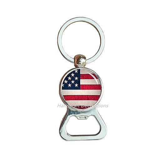 Llavero con abrebotellas de bandera estadounidense con la ...