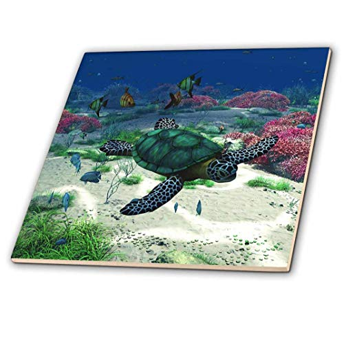 - 3dRose ct_172910_1 Sea Turtle Swims Through The Ocean with Tropic Fishes Corals and More-Ceramic Tile, 4-Inch