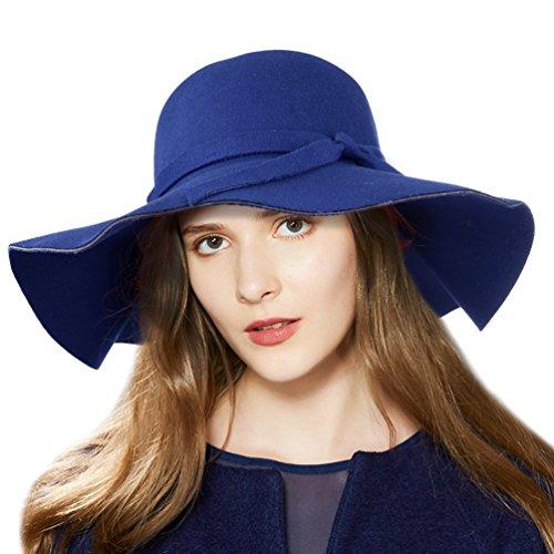 Vbiger Fedora Hat Floppy Hat Bowler Hat Wool Wide Brim Hat Vintage for Women 9e552623e78f