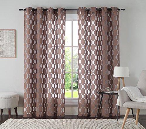 VCNY Home Aria Window Curtain, 54x108, Chocolate