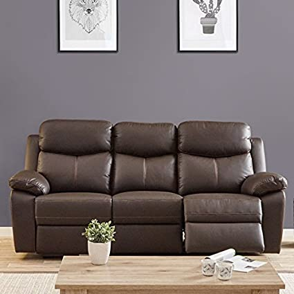 Sofá Relax eléctrico 3 plazas piel marrón - Esther - L 211 ...
