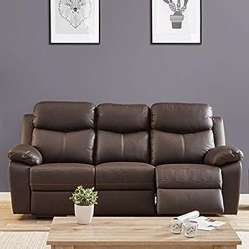 Canape Relax Electrique 3 Places Cuir Brun Esther L 211