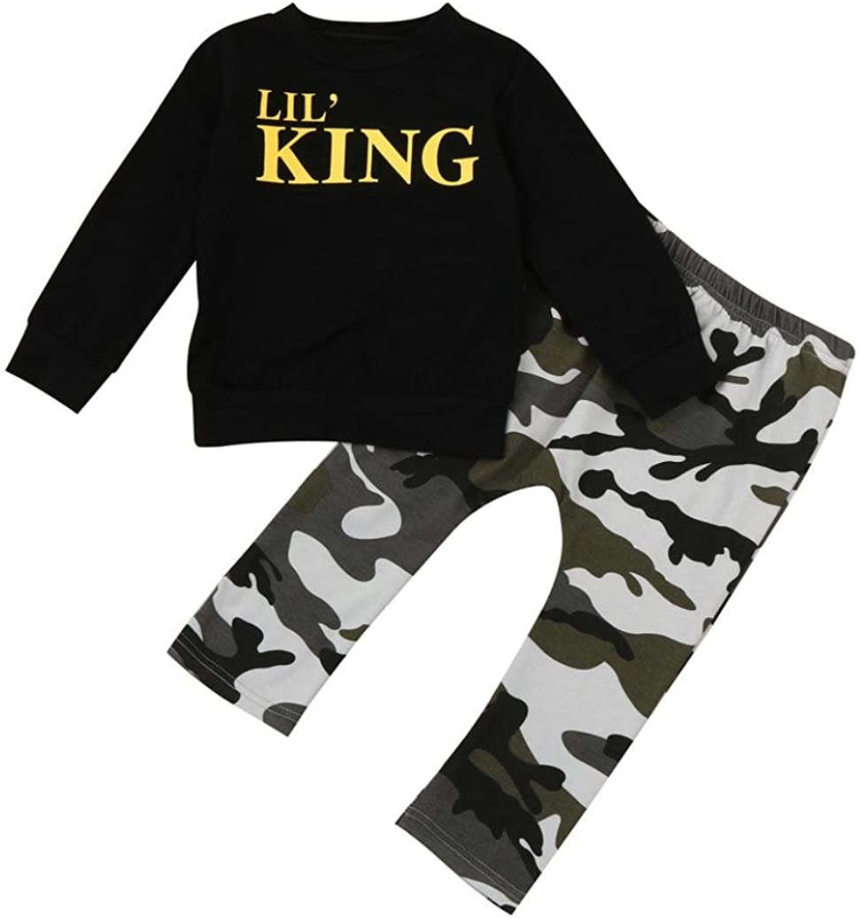 Lisin 2PC Toddler Kids Baby Boy Letter T shirt Tops+Camouflage Pants Outfits Clothes Set