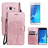 for Samsung Galaxy J5 2015 Wallet Case Holster with Screen Protector ,OYIME [Rose Gold Cute Cat and Butterfly Tree] Design Leather Kickstand Magnetic with Card Holder Full Body Protective Flip Cover