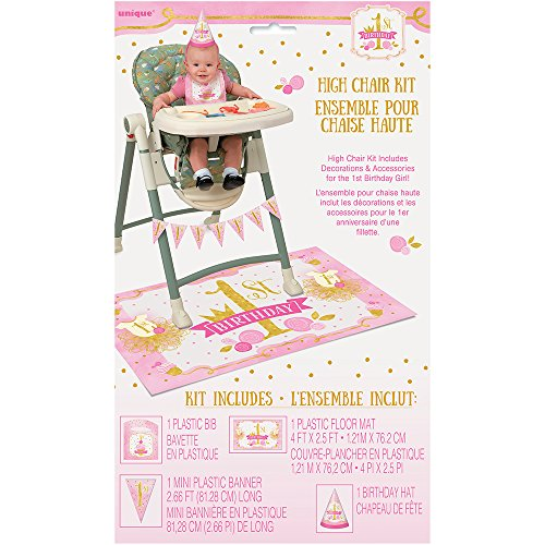 Pink and Gold Girls 1st Birthday High Chair Decoration Kit, 4pc (1st Birthday Bib)