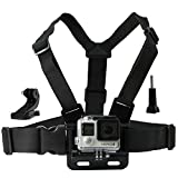 Chest Mount Harness for Gopro Hero 4, Session, Black, Silver, Hero+ LCD, 3+, 3, 2, 1 - Fully Adjustable Chest Strap - Also Includes J-Hook / Thumbscrew / Storage Bag