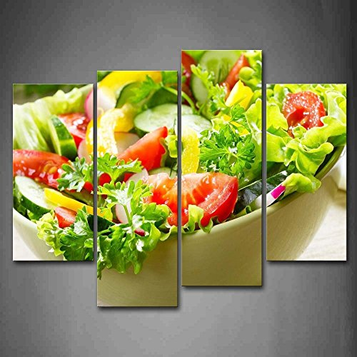 4 Piece Colorful Various Salad In White Bowl Wall Art Painting The Picture Print On Canvas Food Wall Art Stretched and Framed Artwork -