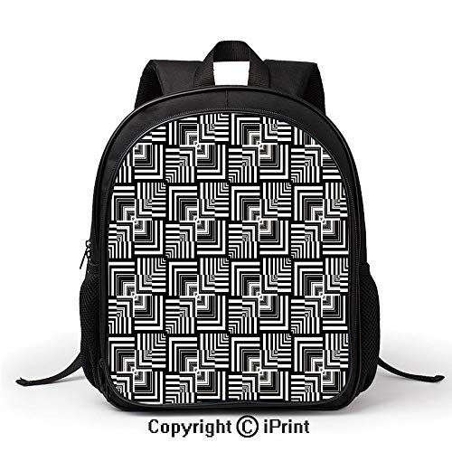 Men's Leisure School Bag Geometric Op Art Pattern Unusual Checked Optical Illusion Effect Modern Decorative Backpack :Suitable for Men and Women,School,Travel,Daily use,etc,Black White