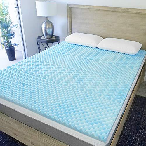 Sure2Sleep 5-Zone Cool Gel Swirl Memory Foam Mattress Topper Made in USA 3-Inch (Queen)