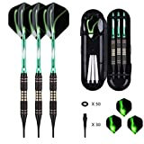 Soft tip Darts Set 18 Gram - Professional Darts Plastic Tip with Brass Barrel + Green Aluminum Shafts + 50 Rubber o-Ring + 6 Pattern Flights +30 Soft Tips for Electronic Dartboard