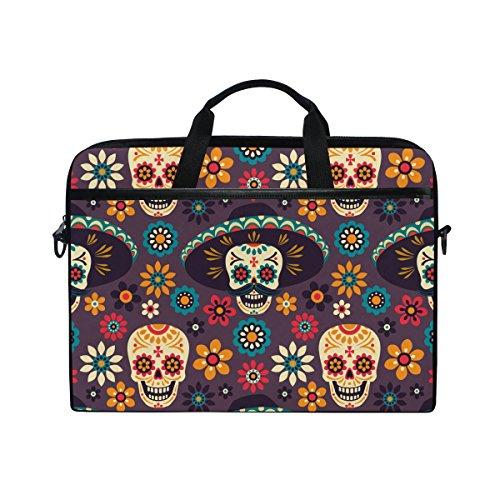 Sugar Skull Dia De Los Muertos 14 Inch Laptop Shoulder Messenger Bag Case Sleeve Briefcase with Handle for Women Men