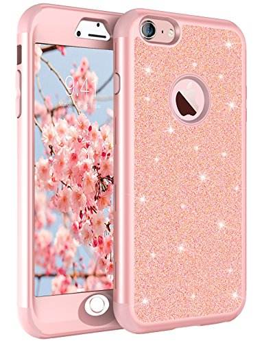 85a76a913890 iPhone 6 Case, iPhone 6S Case, Tobomoco Luxury Shockproof Sleek Glitter  Sparkly Bling Cute Shiny 3 in 1 Hybrid Hard PC ...