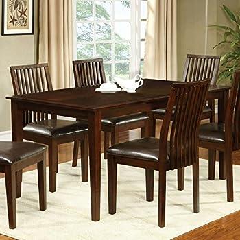 Montego Transitional Style Walnut Finish 5 Piece Dining Table Set