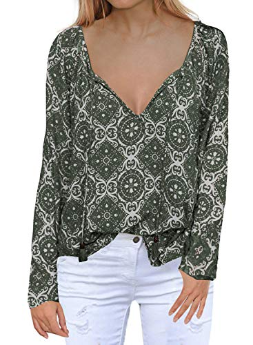MIHOLL Women's Long Sleeve Printed Loose T Shirt Blouse Tops(XX-Large, Green) ()