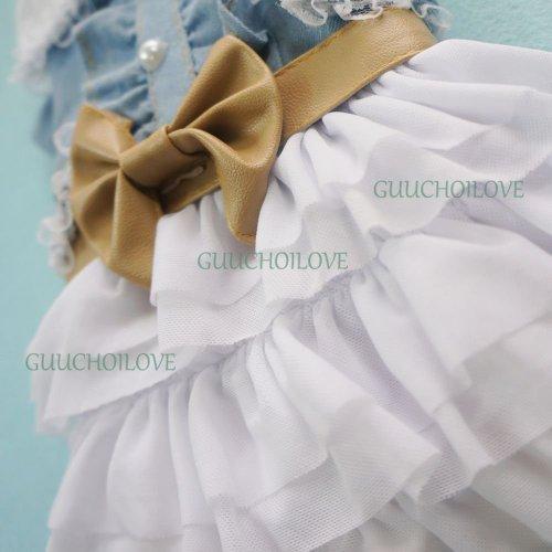 Image of Petparty Fairy Denim Dog Dress for Dog Clothes Charming Cozy Dog Shirt Pet Dress, XXL