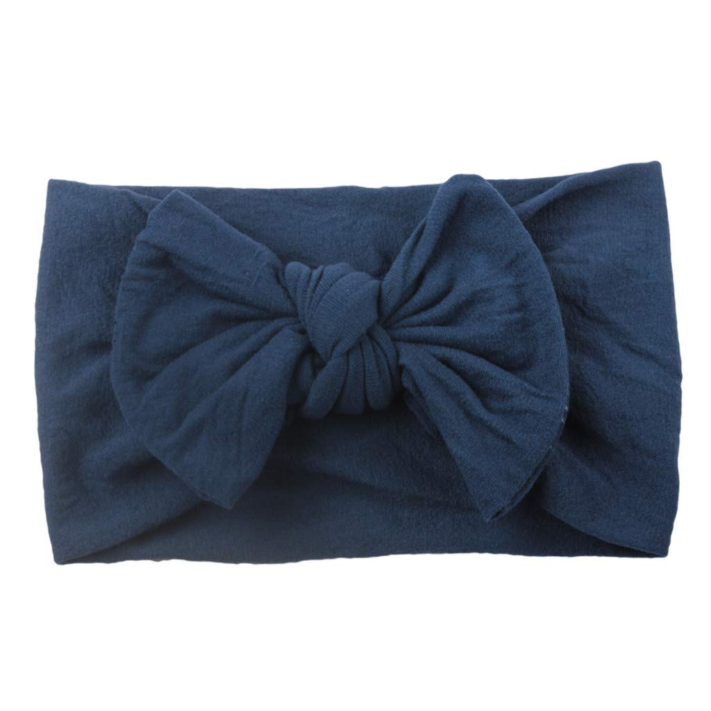 KASSD Baby Girls' Turban Solid Headband Toddler Bow Tie Princess Hair Band Accessories Headwear
