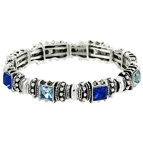 Falari Vintage Acrylic Crystal Antique Silver Stretch Bracelet Sky Blue & Sapphire B0002-06