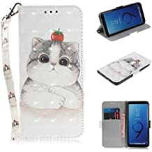 """Galaxy S9 Case, ZERMU 3D Painted Pattern Premium PU Leather Shockproof Kickstand Flip Folio Wallet Case with Card Holder ID Slot and Hand Strap Magnetic Closure Case for Samsung Galaxy S9 5.8"""" 2018"""