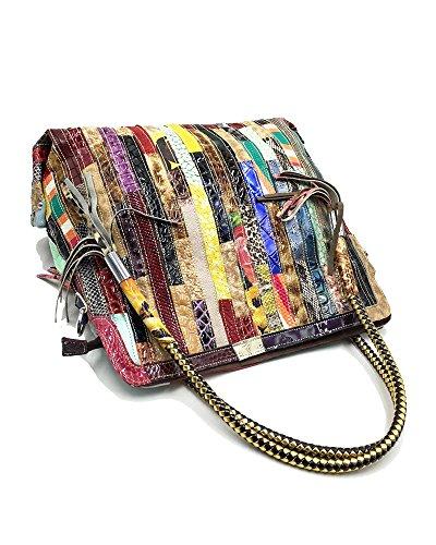 Cross Bags Real Shoulder Women's Leather Satchel Body Handbag Handle multicolour Big Totes Bags Bag Top z84wp4qd