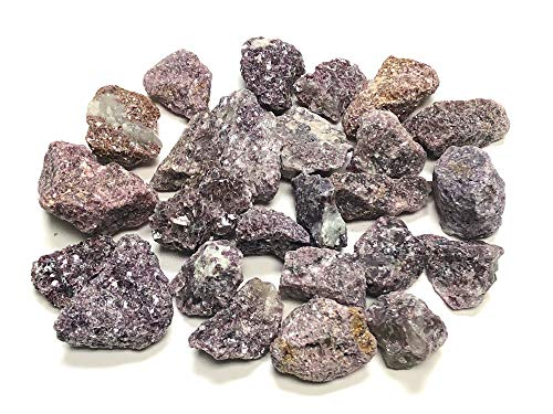"Zentron Crystal Collection Rough Natural Lepidolite Stones with Velvet Bag - Large 1"" Natural Bulk Rocks for Tumbling, Wire Wrapping, Polishing, Wicca and Reiki (1/2 Pound)"