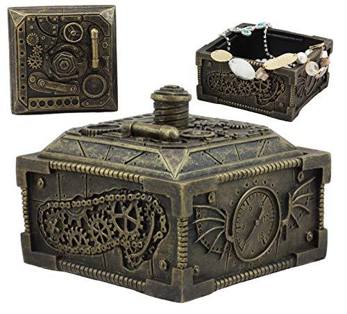 Ebros Steampunk Time Machine Mechanical Gears Design Lidded Jewelry Box Decor Science Fiction Vintage Storage Figurine Statue