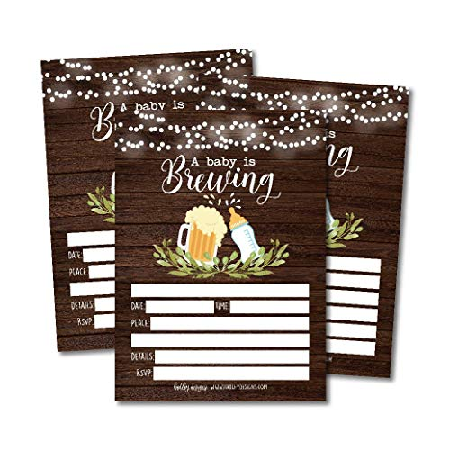 25 Brewing Baby Shower Invitations, Coed Sprinkle Invite for boy or girl, Gender Neutral Reveal, Cute Printed Fill or Write In Blank Printable Card, Beer Vintage Bottle Twin Party Stock Paper Supplies ()