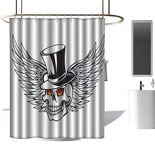 shower curtains for bathroom extra long Skulls Decorations Collection,The Godfather Skull with Wings and Hat Dead Boss in Gothic Mod Illustration,Grey Black White ,W55