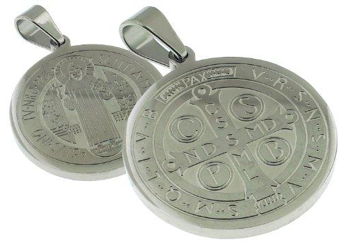 28 MM Round San Benito - Saint Benedict Medal - 1.1 Inches Diam
