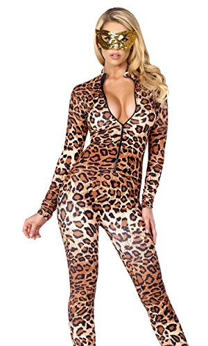 Forplay Women's Leopard Zipfront Catsuit, Brown, Large/X-Large