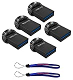 SanDisk 32GB Ultra Fit USB 3.1 Low-Profile Flash Drive (5 Pack Bundle) SDCZ430-032G-G46 16G Pen Drive - with (2) Everything But Stromboli (TM) Lanyard
