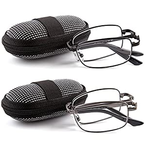 DOUBLETAKE 2 Pack Foldable Readers w Zip Case Reading Glasses - 1.75x
