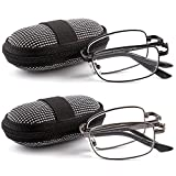 DOUBLETAKE 2 Pack Foldable Readers w Zip Case Reading Glasses - 1.50x