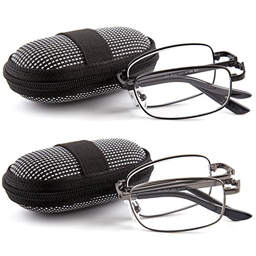DOUBLETAKE 2 Pairs Foldable Readers in Portable Nylon Zip Cases Folding Reading Glasses - 1.75x