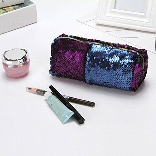 viola moda make Amlaiworld borsa cosmetici paillettes colore Unisex up doppio pochette wqRxv7