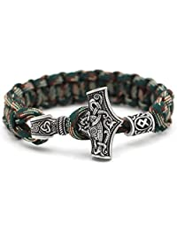 TTKP Norse Viking Thor Mjolnir Hammer Paracord Amuletceltic Rune Knot Amulet Scandinavian Bracelet Green Paracord