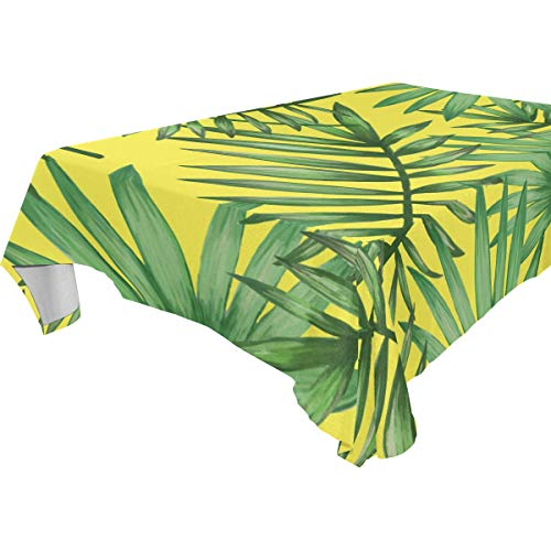 imobaby Tropical Palmetto Pattern Tablecloth for Dining-Table Good Decor for Dining Room Square Table Cover for Kitchen, 60x90 inches