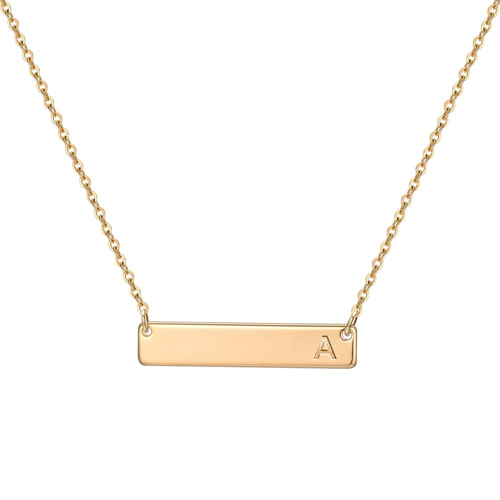 Initial Bar Necklace Gold for Women - Bar Necklace Personalized 14K Gold Plated Alphabet Bar Necklace with Initial Gifts for Girls Custom Engraved Bar Initial Necklace Letter Name Bar Necklace