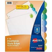Avery 11201 Separadores de plástico con pestaña de borde de estilo insertable, 8 pestañas, carta