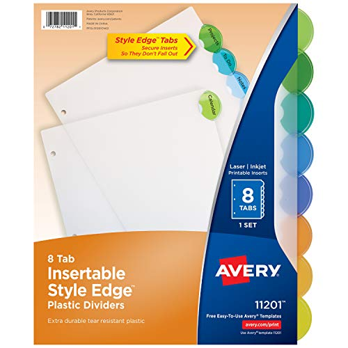 - Avery 11201 Insertable Style Edge Tab Plastic Dividers, 8-Tab, Letter