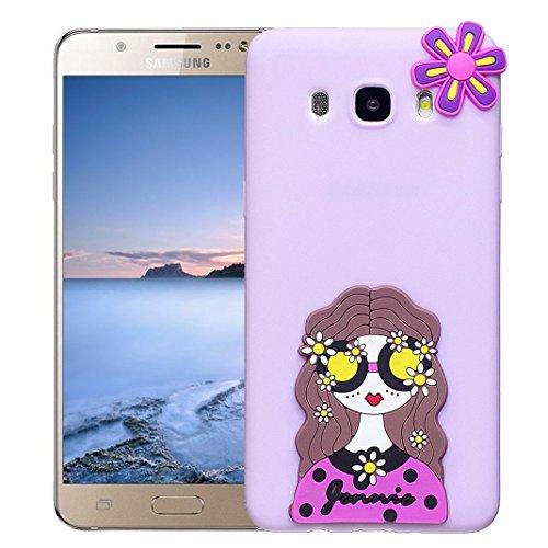 Funda Samsung Galaxy J5 2016 SM-J510F Carcasa Protectora Lindo OuDu **Diseño 3D** Funda para Samsung Galaxy J5 2016 SM-J510F Caso Silicona TPU Funda Suave Soft Silicone Case Cover Bumper Funda Ultra D Púrpura ligera