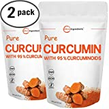 Maximum Strength Organic Pure Curcumin 95% (Natural Turmeric Extract) Powder, Rich in Antioxidants for Joint Support, 100 Gram (2 Pack).Vegan Friendly