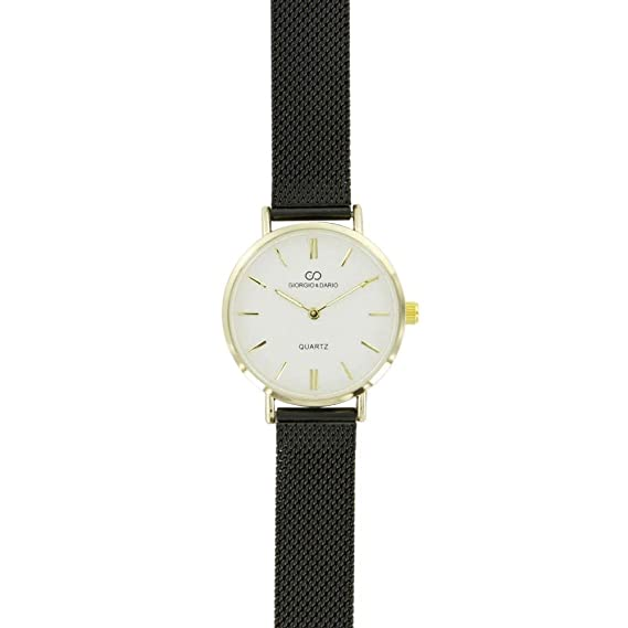 Reloj Mujer Acero Milanais Negro Dorado Gorgio