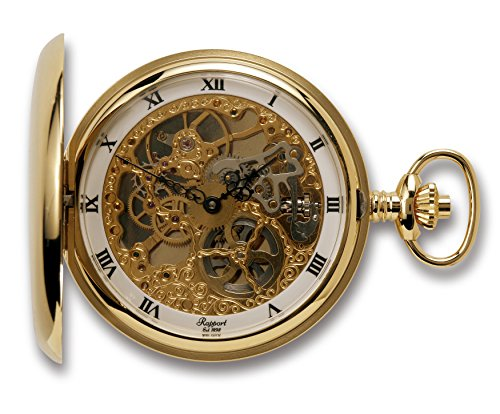 Rapport-of-London-Gold-Plated-Double-Hunter-Pocket-Watch-with-Skeletonized-17-Jewel-Movement