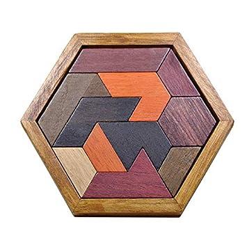 amiciKart Montessori Toys Creative Children Hexagonal Wooden Geometric Shape Jigsaw Puzzles Board Educational Intelligence Baby Kids Toys