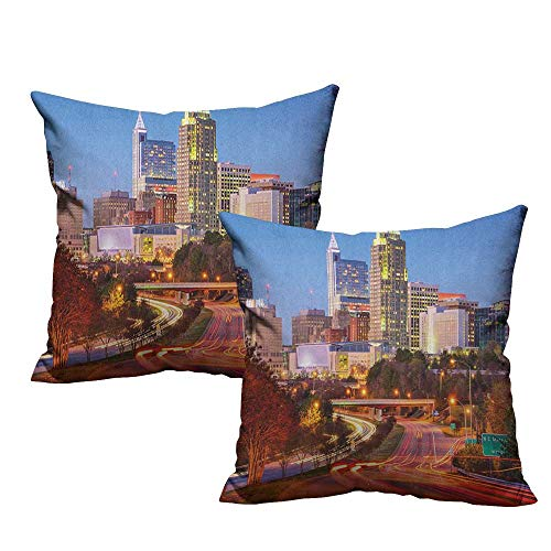 warmfamily Personalized Pillowcase United States Raleigh North Carolina USA Express Way Business District Building Skyscrapers with Hidden Zipper W24 xL24 2 pcs ()
