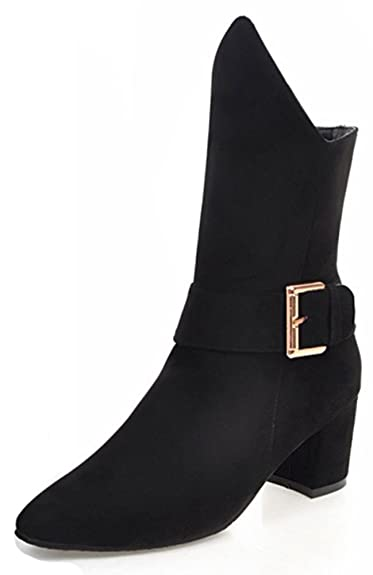 Women's Chic Faux Suede Pointed Toe Block High Heel Pull On Mid Calf Boots