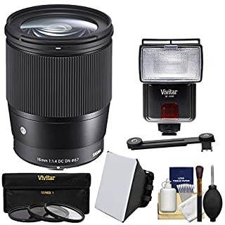 Sigma 16mm f/1.4 Contemporary DC DN Lens with 3 UV/CPL/ND8 Filters + Backpack + Lens Pouch + Strap + Pop-up Flash Diffusers + Kit for Sony Alpha E-Mount Cameras