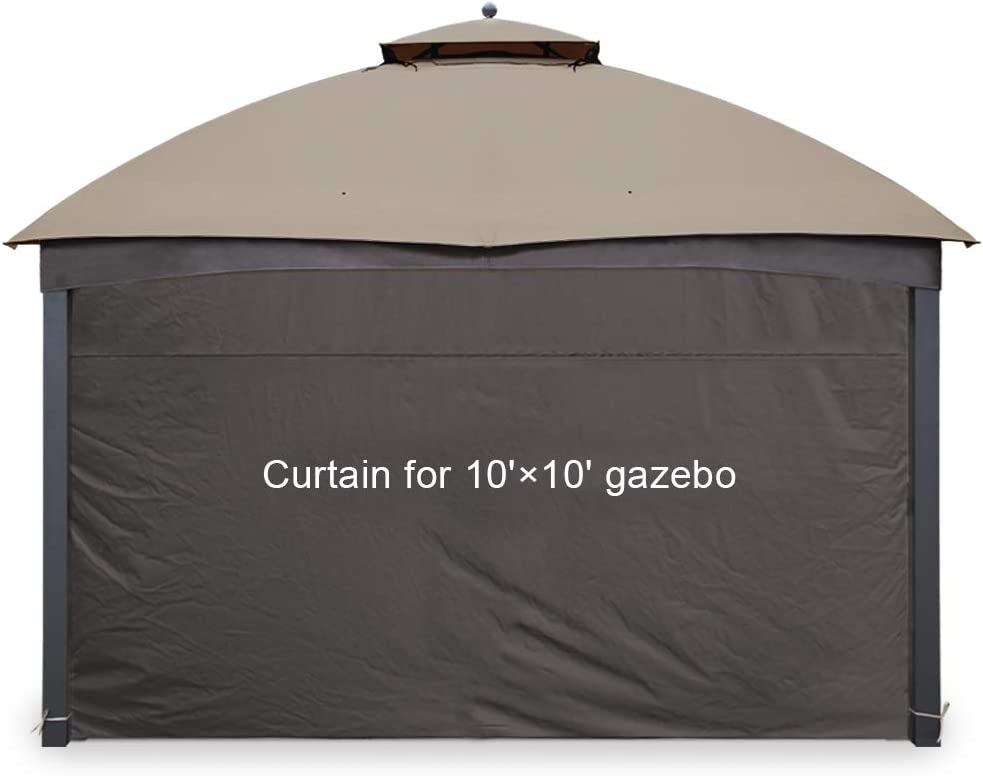 Gafrem Gazebo Universal Replacement Privacy Curtain Panel Side Wall fits 10'x10' and 10'x12' Gazebos (10'x10' Feet, Brown)