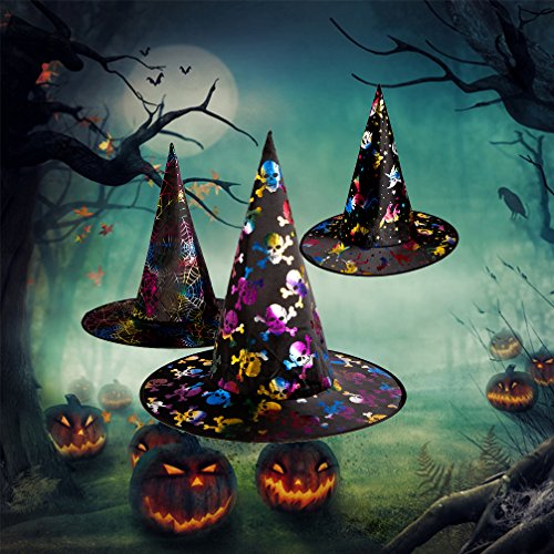 Halloween Witch Hats for Kids Boys Girls 3 Pack Colorful Wizard Hat Cosplay Cape Xmas Party Costume Hat Props Spider Skeleton Halloween Easter Decorations Party Supplies (Witch Hunter Costume For Girls)